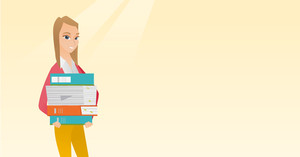 Young caucasian woman holding a pile of educational books in hands. Student carrying huge stack of books. Student preparing for exam with books. Vector flat design illustration. Horizontal layout.