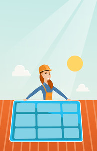 Young caucasian woman installing solar panels on roof. Technician in inuform and helmet checking solar panel on roof. Eengineer adjusting solar panel. Vector flat design illustration. Vertical layout.