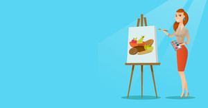 Young caucasian woman painting a female model on canvas. Creative smiling female artist drawing on an easel. Cheerful artist working on painting. Vector flat design illustration. Horizontal layout.