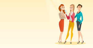 Young caucasian woman showing something to her friends on her smartphone. Three happy female friends looking at smartphone and laughing. Vector flat design illustration. Horizontal layout.