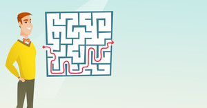 Young cheerful businessman looking at the labyrinth with solution. Caucasian businessman thinking about business solution. Business solution concept. Vector flat design illustration. Horizontal layout