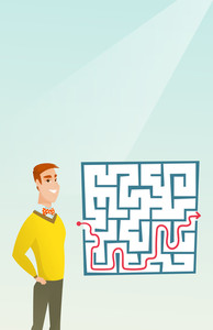 Young cheerful businessman looking at the labyrinth with solution. Caucasian businessman thinking about business solution. Business solution concept. Vector flat design illustration. Vertical layout.