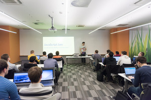 young computer technology students on  code programming class have presentation