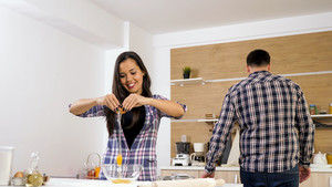Young couple spending time and cooking together. Casual day