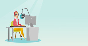 Young dj working in front of microphone, computer and mixing console on the radio. Caucasian news presenter in headset working on the radio station. Vector flat design illustration. Horizontal layout.