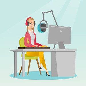 Young dj working in front of microphone, computer and mixing console on the radio. Caucasian news presenter in headset working on the radio station. Vector flat design illustration. Square layout.