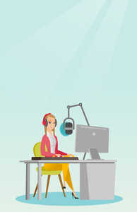 Young dj working in front of microphone, computer and mixing console on the radio. Caucasian news presenter in headset working on the radio station. Vector flat design illustration. Vertical layout.
