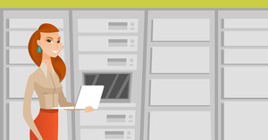 Young engineer with laptop working in network server room. Engineer standing in network server room. Network engineer using laptop in server room. Vector flat design illustration. Horizontal layout.