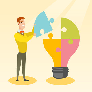 Young excited caucasian student takes apart idea light bulb made of puzzle. Happy student standing near the idea bulb. Smiling student having great idea. Vector flat design illustration. Square layout