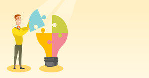 Young excited caucasian student takes apart idea light bulb made of puzzle. Student standing near the idea bulb. Smiling student having great idea. Vector flat design illustration. Horizontal layout.