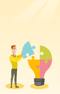 Young excited caucasian student takes apart idea light bulb made of puzzle. Student standing near the idea bulb. Smiling student having great idea. Vector flat design illustration. Vertical layout.
