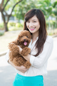 Young girl holding dog on hands and looking at camera