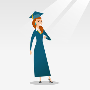 Young happy caucasian graduate giving thumb up. Full length of smiling graduate with thumb up. Cheerful graduate showing thumb up. Concept of education. Vector flat design illustration. Square layout.