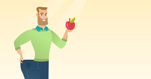Young happy caucasian man on a diet. Slim smiling man in oversized pants showing the results of his diet. Concept of dieting and healthy lifestyle. Vector flat design illustration. Horizontal layout.