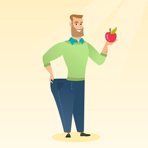 Young happy caucasian man on a diet. Slim smiling man in oversized pants showing the results of his diet. Concept of dieting and healthy lifestyle. Vector flat design illustration. Square layout.