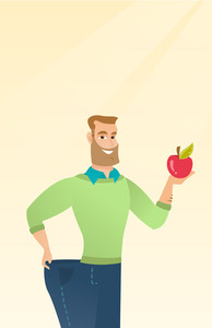Young happy caucasian man on a diet. Slim smiling man in oversized pants showing the results of his diet. Concept of dieting and healthy lifestyle. Vector flat design illustration. Vertical layout.