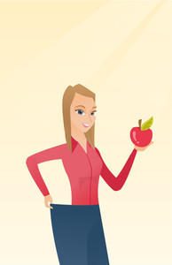 Young happy caucasian woman on a diet. Slim smiling woman in oversized pants showing the results of her diet. Concept of dieting and healthy lifestyle. Vector flat design illustration. Vertical layout