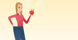Young happy caucasian woman on a diet. Slim woman in oversized pants showing the results of her diet. Concept of dieting and healthy lifestyle. Vector flat design illustration. Horizontal layout.