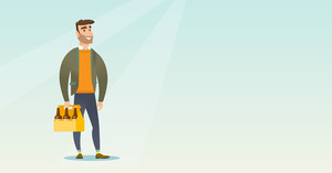 Young happy man holding pack of beer. Full length of cheerful hipster man carrying a six pack of beer. Caucasian smiling man buying beer. Vector flat design illustration. Horizontal layout.