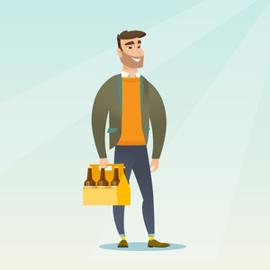 Young happy man holding pack of beer. Full length of cheerful hipster man carrying a six pack of beer. Caucasian smiling man buying beer. Vector flat design illustration. Square layout.