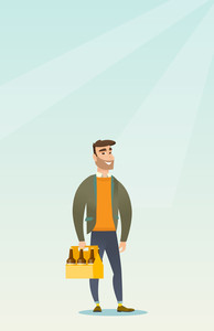 Young happy man holding pack of beer. Full length of cheerful hipster man carrying a six pack of beer. Caucasian smiling man buying beer. Vector flat design illustration. Vertical layout.