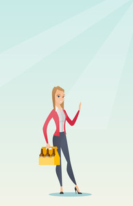 Young happy woman holding pack of beer. Full length of cheerful woman carrying a six pack of beer. Caucasian smiling woman buying beer. Vector flat design illustration. Vertical layout.