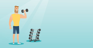 Young hipster man lifting a heavy weight dumbbell. Caucasian strong sportsman doing exercise with dumbbell. Weightlifter holding dumbbell in the gym. Vector flat design illustration. Horizontal layout