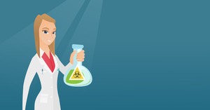 Young laboratory assistant holding a flask with biohazard sign. Caucasian laboratory assistant in medical gown showing a flask with biohazard sign. Vector flat design illustration. Horizontal layout.