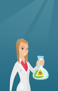 Young laboratory assistant holding a flask with biohazard sign. Caucasian laboratory assistant in medical gown showing a flask with biohazard sign. Vector flat design illustration. Vertical layout.