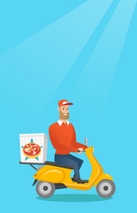 Young man delivering pizza on scooter. Courier driving a motorbike and delivering pizza. Worker of delivery service of pizza. Food delivery concept. Vector flat design illustration. Vertical layout.