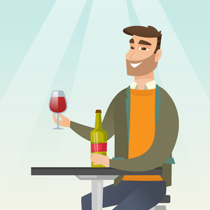 Young man sitting at the table with a glass and a bottle of wine. Caucasian man drinking wine in the restaurant. Man enjoying a drink at the wine bar. Vector flat design illustration. Square layout.