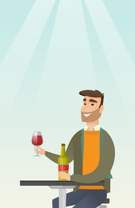 Young man sitting at the table with a glass and a bottle of wine. Caucasian man drinking wine in the restaurant. Man enjoying a drink at the wine bar. Vector flat design illustration. Vertical layout.