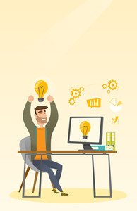 Young man with arms up got a business idea. Cheerful businessman working on a computer with business idea bulb on a screen. Business idea concept. Vector flat design illustration. Vertical layout.