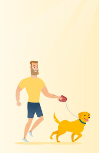Young man with his dog. Happy hipster man with beard taking dog on walk. Caucasian man walking with his small dog. Smiling man walking a dog on leash. Vector flat design illustration. Vertical layout.