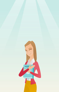 Young smiling student hugging her book. Happy joyful student likes read books. Peaceful student with eyes closed holding a book. Concept of education. Vector flat design illustration. Vertical layout.