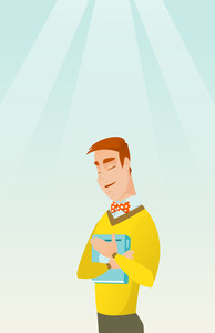 Young smiling student hugging his book. Happy joyful student likes read books. Peaceful student with eyes closed holding a book. Concept of education. Vector flat design illustration. Vertical layout.