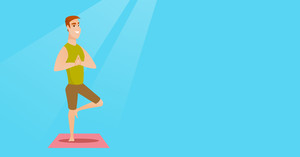 Young sportsman standing in yoga tree pose. Caucasian sportsman meditating in yoga tree position. Sporty man doing yoga on the mat. Vector flat design illustration. Horizontal layout.
