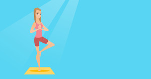 Young sportswoman standing in yoga tree pose. Caucasian sportswoman meditating in yoga tree position. Sporty woman doing yoga on the mat. Vector flat design illustration. Horizontal layout.