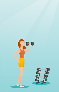 Young sporty woman lifting heavy weight dumbbell. Caucasian strong sportswoman doing exercise with dumbbell. Weightlifter holding dumbbell in the gym. Vector flat design illustration. Vertical layout.