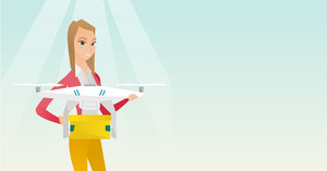 Young woman controlling delivery drone with post package. Woman getting post package from delivery drone. Woman sending parcel with delivery drone. Vector flat design illustration. Horizontal layout.