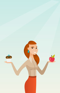 Young woman holding an apple and a cupcake. Woman choosing between an apple and a cupcake. Concept of choice between healthy and unhealthy nutrition. Vector flat design illustration. Vertical layout.