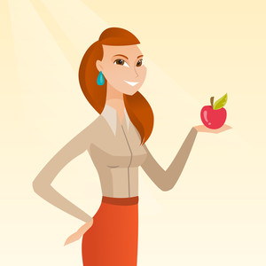Young woman holding an apple in hand. Cheerful woman eating an apple. Caucasian woman enjoying a fresh healthy red apple. Concept of healthy nutrition. Vector flat design illustration. Square layout.