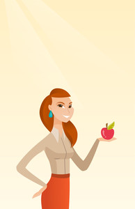 Young woman holding an apple in hand. Cheerful woman eating an apple. Caucasian woman enjoying a fresh healthy red apple. Concept of healthy nutrition. Vector flat design illustration. Vertical layout