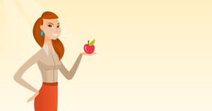 Young woman holding an apple in hand. Happy woman eating an apple. Caucasian woman enjoying a fresh healthy red apple. Concept of healthy nutrition. Vector flat design illustration. Horizontal layout.