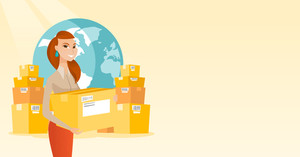 Young woman holding box on the background of world map and packages. Woman working in international delivery service. International delivery concept. Vector flat design illustration. Horizontal layout