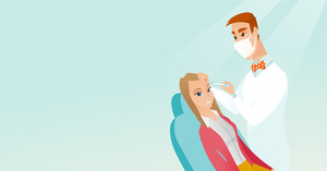 Young woman lying on the couch in beauty salon and getting cosmetic dermal injection in her face. Doctor making beauty injections to female client. Vector flat design illustration. Horizontal layout.