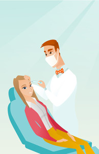 Young woman lying on the couch in beauty salon and getting cosmetic dermal injection in her face. Doctor making beauty injections to female client. Vector flat design illustration. Vertical layout.