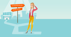 Young woman standing at road sign with two career pathways - entrepreneur and employee. Woman choosing career way. Woman making a decision of career. Vector flat design illustration. Horizontal layout