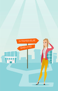 Young woman standing at road sign with two career pathways - entrepreneur and employee. Woman choosing career way. Woman making a decision of career. Vector flat design illustration. Vertical layout.