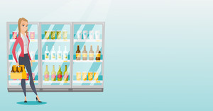 Young woman standing in alcohol store with pack of beer on the background of refrigerator. Woman buying beer. Beer lover holding pack with bottles. Vector flat design illustration. Horizontal layout.
